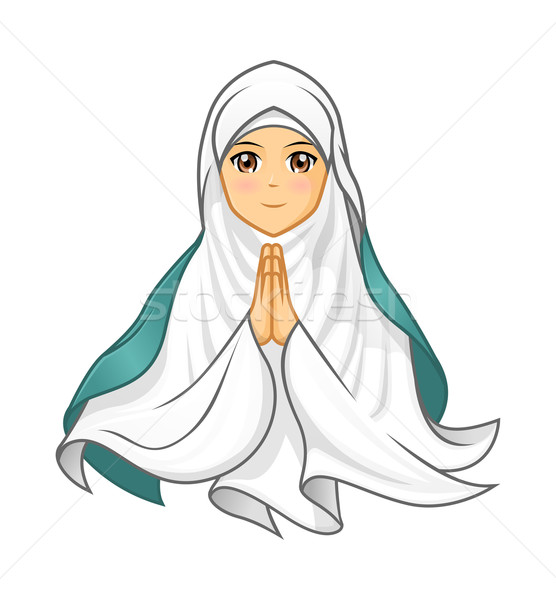 Muslim Woman Wearing White Veil with Welcoming Arms Stock photo © ridjam