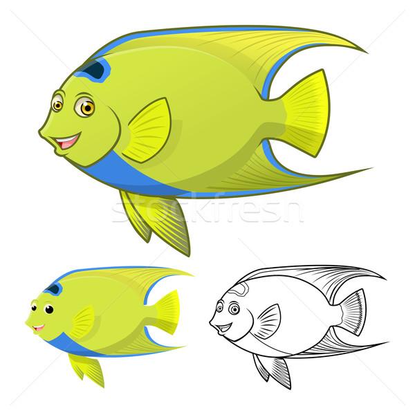 Queen Angel Fish Cartoon Character Stock photo © ridjam
