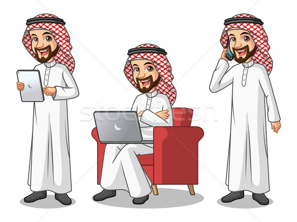Set of businessman Saudi Arab Man working on gadgets Stock photo © ridjam