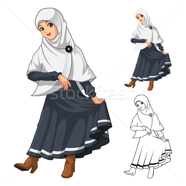 Muçulmano menina moda branco véu Foto stock © ridjam