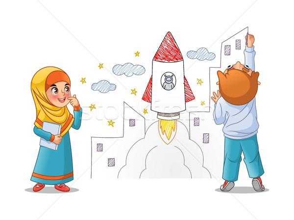 çocuklar Boya çekmek Uzay Roket Duvar Vektör