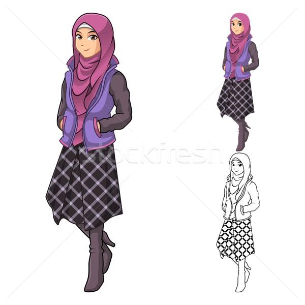 Muslim Woman Fashion Wearing Purple Veil or Scarf Stock photo © ridjam