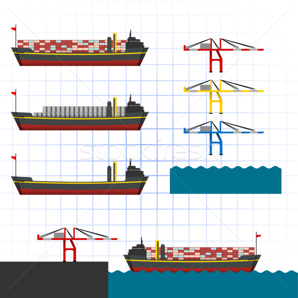 Navio porta-contentores guindaste mar ponte indústria industrial Foto stock © ridjam