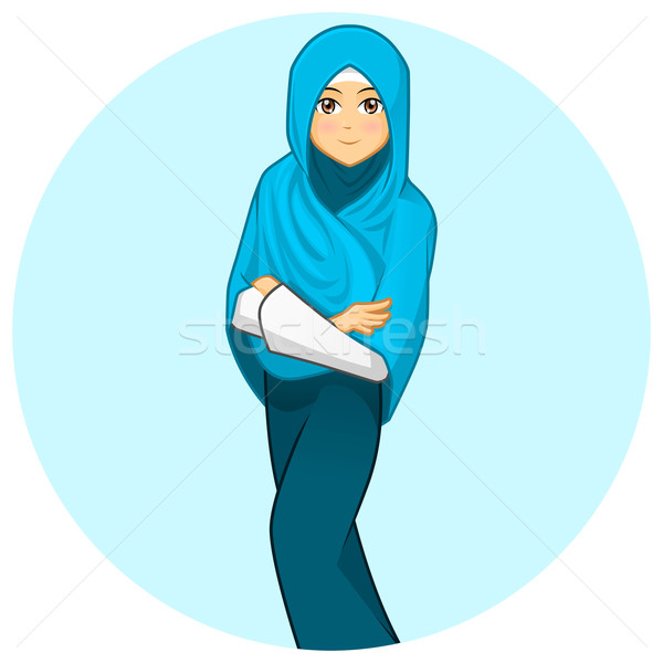 Modern Muslim Woman with Folded Arms Wearing Blue Veil Stock photo © ridjam