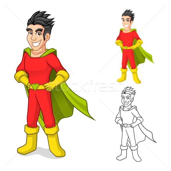 Super Hero Cartoon Character with Cape and Standing Pose Stock photo © ridjam
