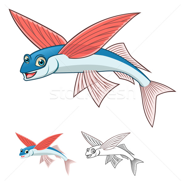 Flying Fish Cartoon Character Stock photo © ridjam