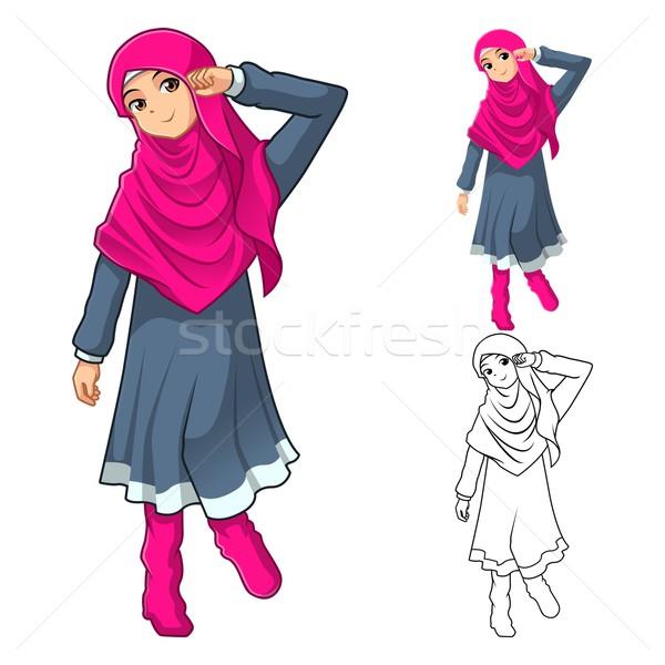 Müslüman kız moda pembe peçe Stok fotoğraf © ridjam