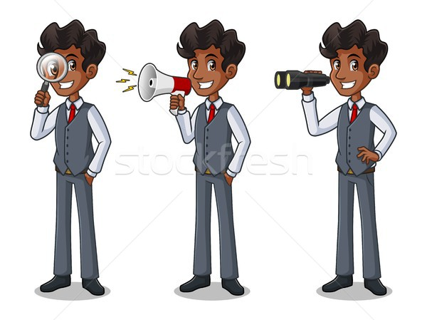 Set of businessman in vest looking for poses Stock photo © ridjam