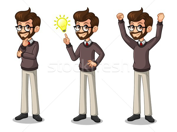 Set of hipster businessman getting ideas gesture Stock photo © ridjam