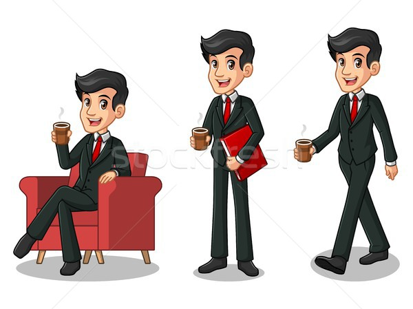 Set of businessman in black suit making a break with drinking a coffee Stock photo © ridjam
