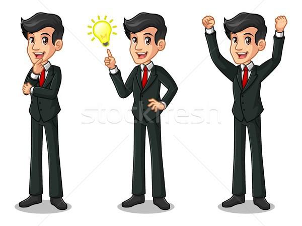 Conjunto empresário terno preto idéias gesto Foto stock © ridjam