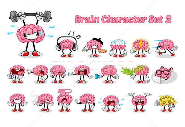 Conjunto cérebro dois feliz saúde Foto stock © ridjam