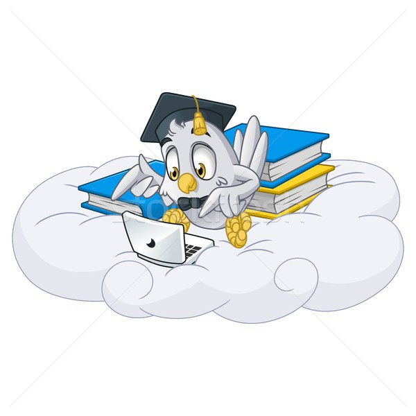 Owl Playing Laptop with Graduation Cap Stock photo © ridjam