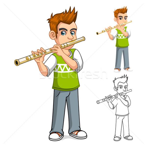 Fiú játszik furulya rajzfilmfigura iskola háttér Stock fotó © ridjam