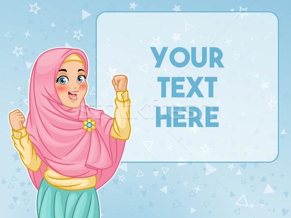 Muçulmano mulher mostrar vitória gesto jovem Foto stock © ridjam