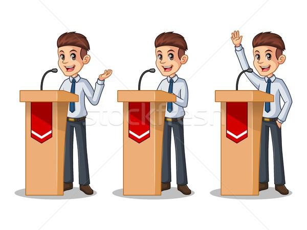 Set of businessman in shirt giving a speech behind rostrum Stock photo © ridjam