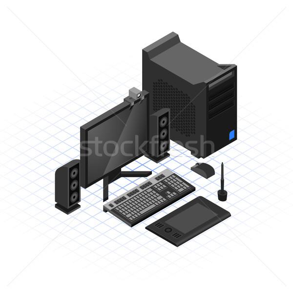 Isometric Computer Set  Stock photo © ridjam