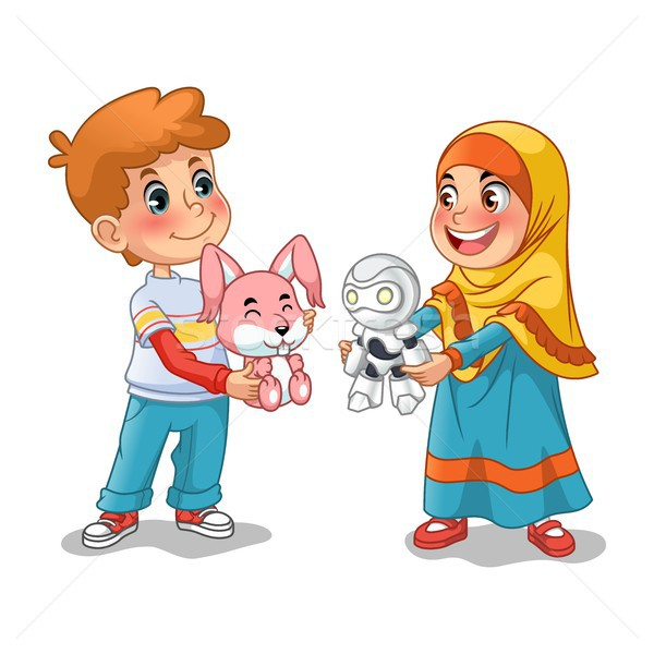 Muslim Girl and Boy Exchanging Gifts and Making Friends Stock photo © ridjam