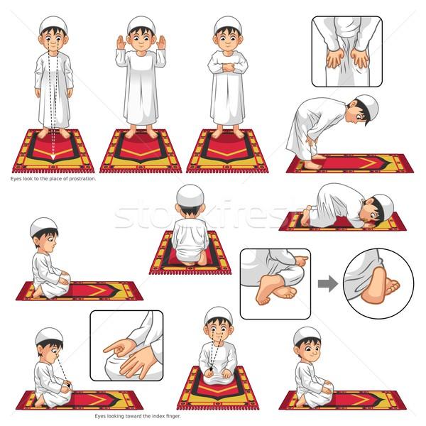 полный набор мусульманских молитвы положение направлять Сток-фото © ridjam