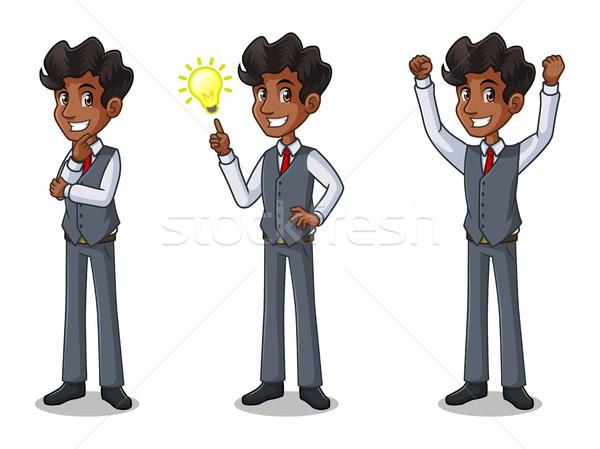 Szett üzletember mellény ötletek kézmozdulat rajzfilmfigura Stock fotó © ridjam