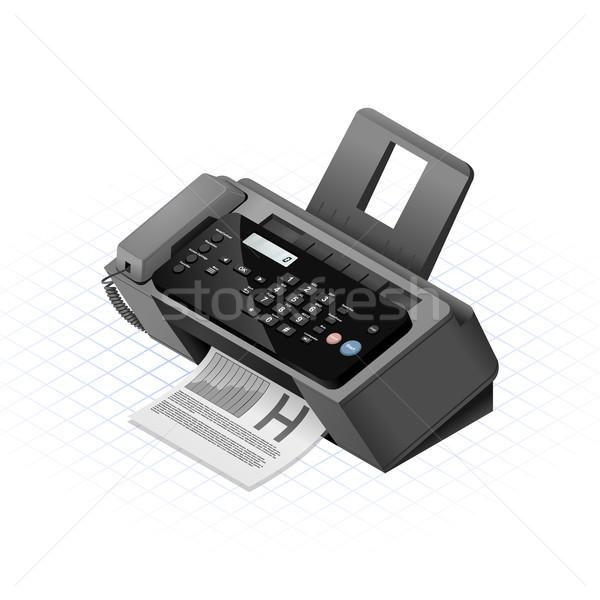Isométrique télécopieur affaires ordinateur design téléphone Photo stock © ridjam