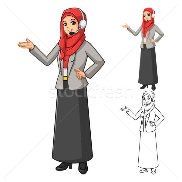Muslim Businesswoman Operator Wearing Red Veil with Welcoming Hands Stock photo © ridjam