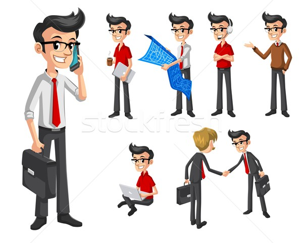 Set of Modern Businessman in Various Poses Stock photo © ridjam