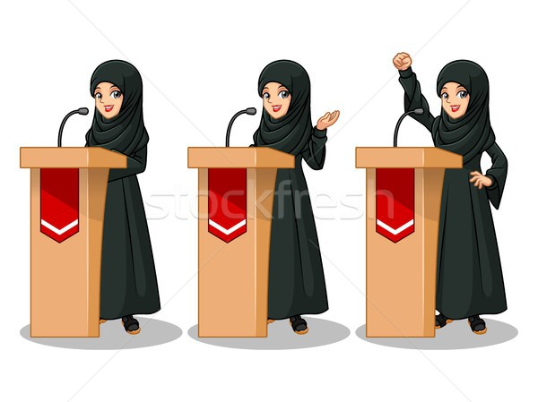 Set of Arab businesswoman in black dress giving a speech behind rostrum Stock photo © ridjam