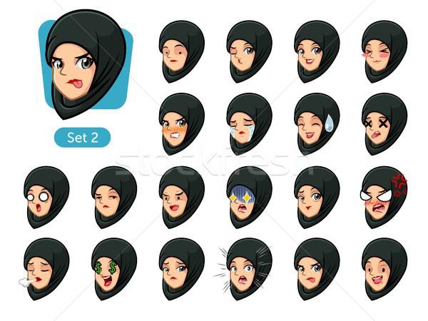 The second set of muslim woman in black hijab cartoon avatars  Stock photo © ridjam