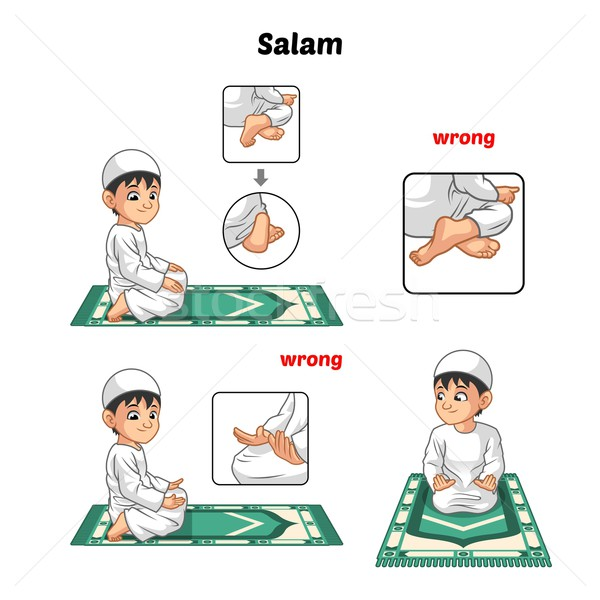 Muslim Prayer Guide Salutation and Position of The Feet Stock photo © ridjam