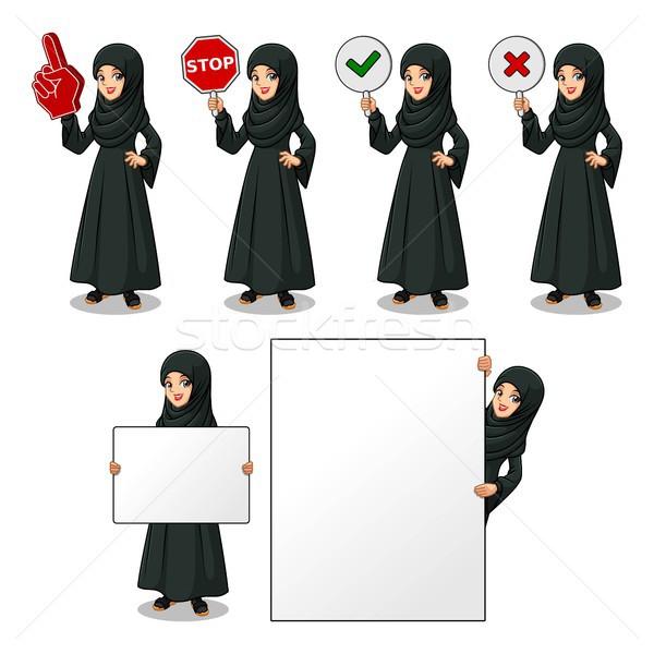 Conjunto Árabe empresária vestido preto assinar Foto stock © ridjam