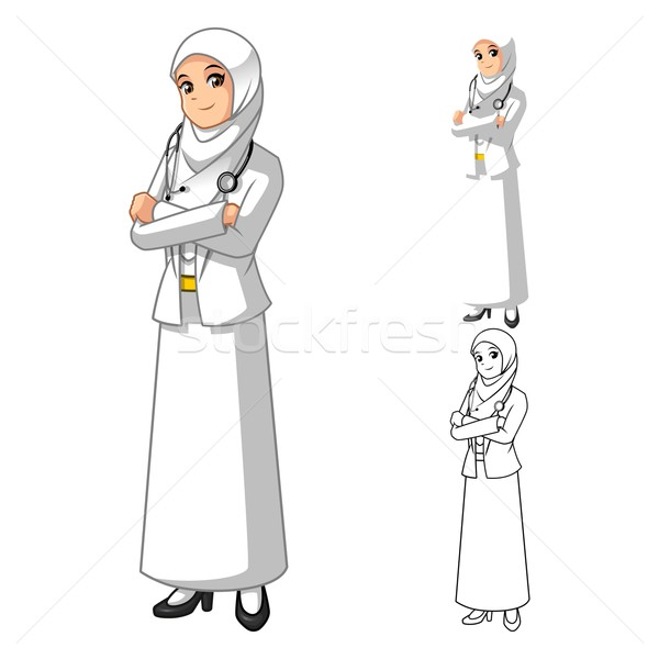 Muslim Woman Doctor Wearing White Veil with Folded Hands Stock photo © ridjam
