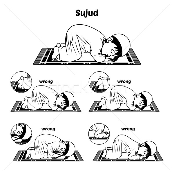 Muslim Prayer Guide Sujud Position Outline Stock photo © ridjam