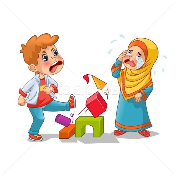 Muslim Girl Cry Because Boy Destroying Her Blocks Stock photo © ridjam