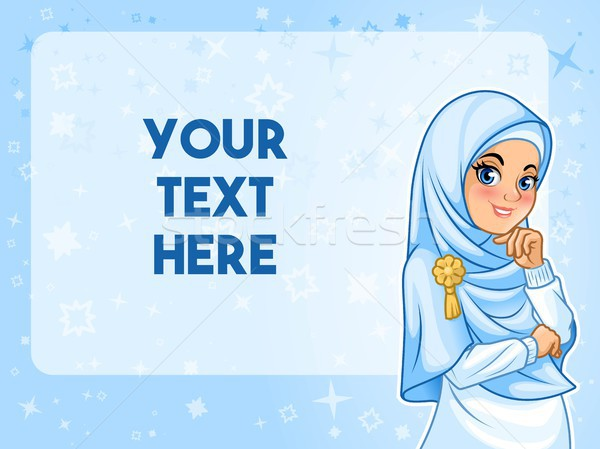Muslim woman having her hand under chin vector illustration Stock photo © ridjam
