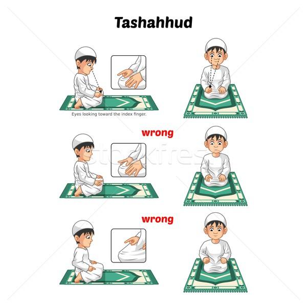 Сток-фото: мусульманских · молитвы · направлять · сидят · указательный · палец · положение