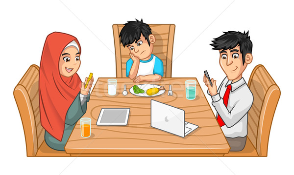 Family Eating Together Cartoon Character Stock photo © ridjam