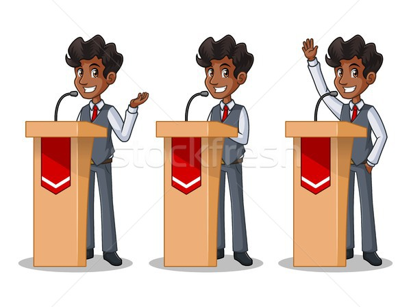 Set of businessman in vest giving a speech behind rostrum Stock photo © ridjam