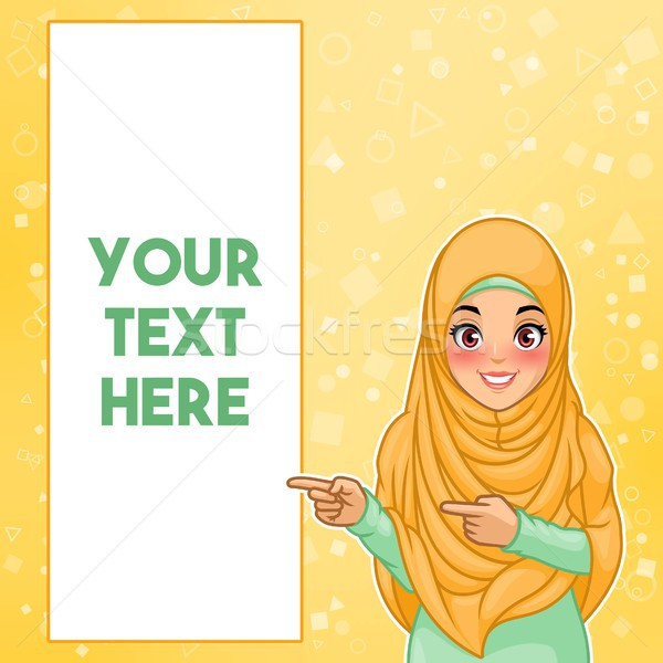 Stock photo: Muslim woman pointing finger to the right side at copy space