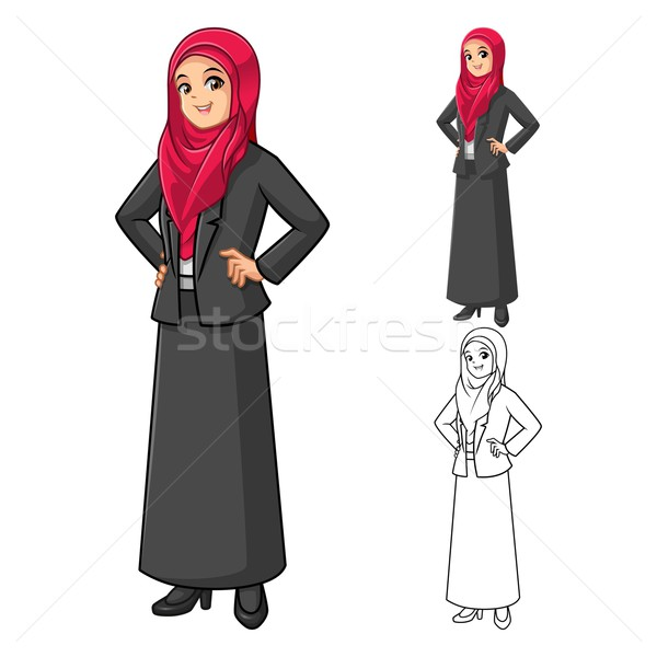Muslim Businesswoman Wearing Red Veil with Hands On Hip Stock photo © ridjam