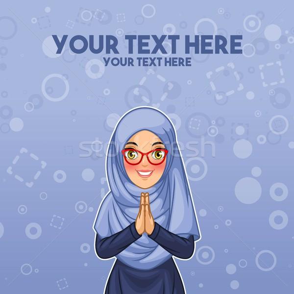 Muçulmano mulher saudação mãos jovem Foto stock © ridjam
