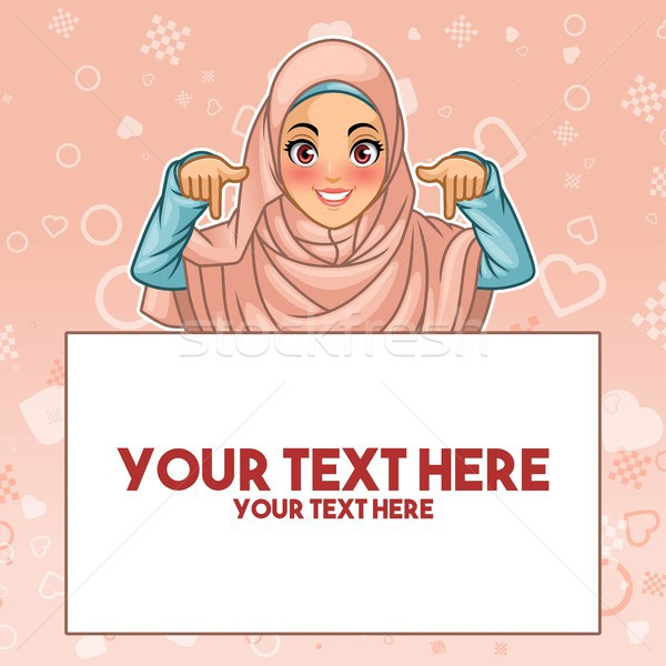 Muslim woman pointing finger down at copy space Stock photo © ridjam