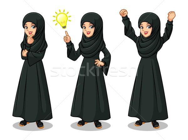 Set of Arab businesswoman in black dress getting ideas gesture Stock photo © ridjam