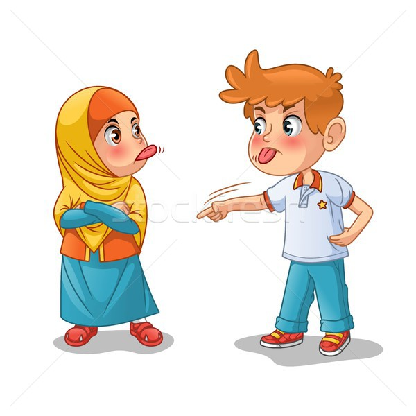 Muslim Girl and Boy Mock Each Other by Showing Their Tongues Stock photo © ridjam