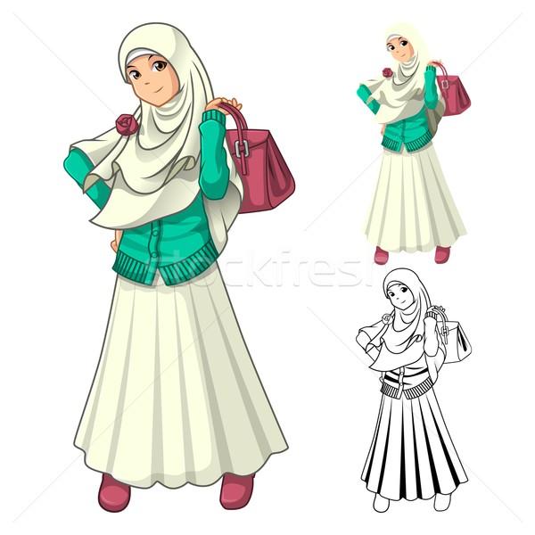 Muslim Mädchen Mode tragen Schleier Schal Stock foto © ridjam