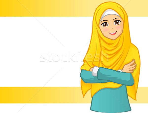 Muzułmanin kobieta żółty zasłona fałdowy Zdjęcia stock © ridjam