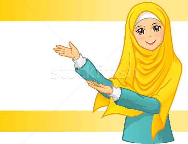 Muslim Woman Wearing Yellow Veil with Welcoming Arms Stock photo © ridjam