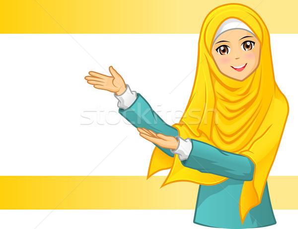 Muszlim nő visel citromsárga fátyol karok Stock fotó © ridjam