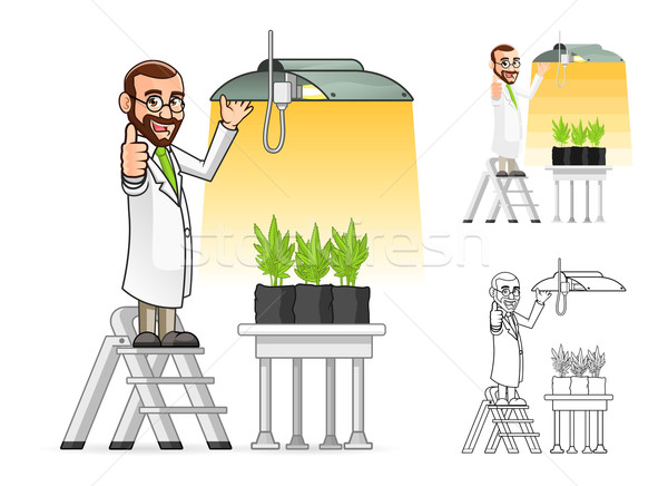 Scientist Cartoon Character Hanging a Grow Light Stock photo © ridjam