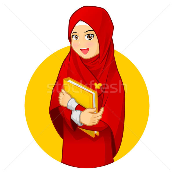 Muslim Woman with Hugging a Book Wearing Red Veil Stock photo © ridjam